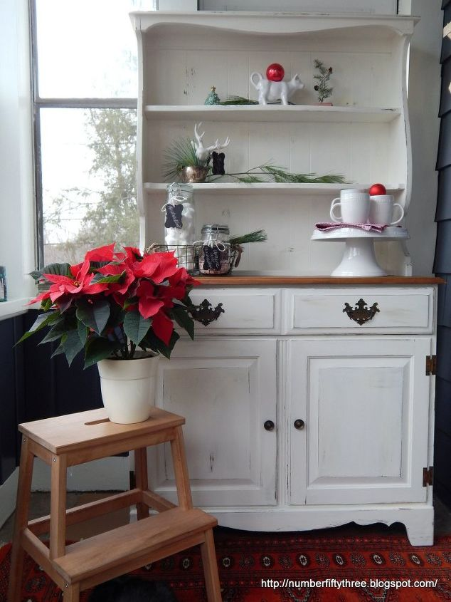 painted furinsture white and stained vintage country hutch, painted furniture