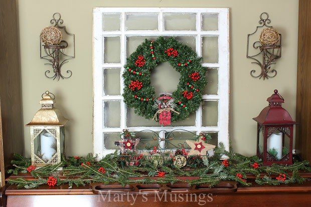 How to decorate a pretend mantel the inexpensive way for How to decorate a fireplace for christmas