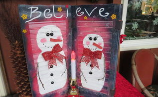 repurpose window shutter snowman decoration, christmas decorations, crafts, repurposing upcycling, seasonal holiday decor