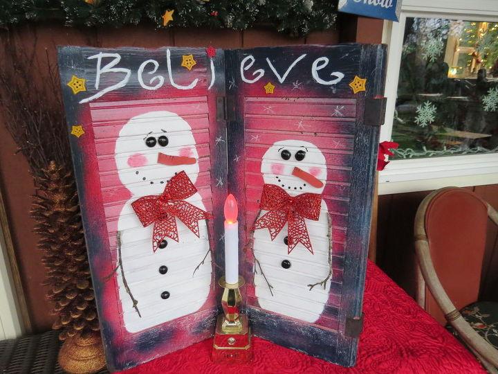 repurpose window shutter snowman decoration, christmas decorations, crafts, repurposing upcycling, seasonal holiday decor