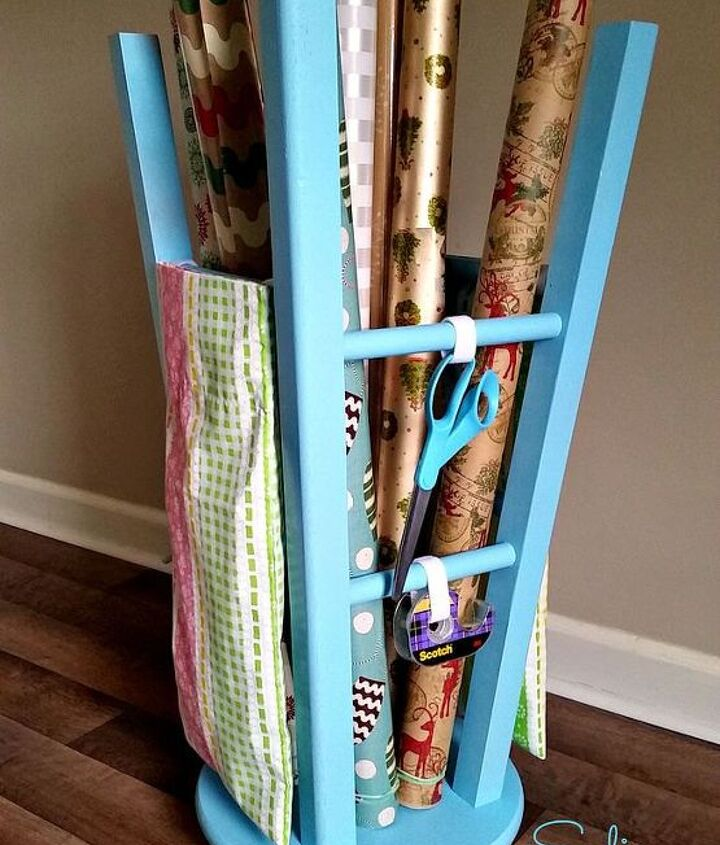 s the best organizing ideas of 2015 that you should do this year too, organizing, Turning a Stool into a Gift Wrap Caddy