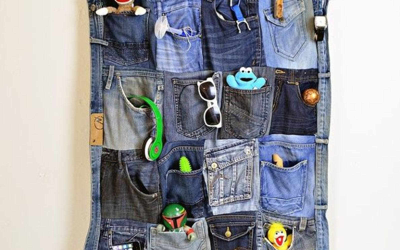 s the best organizing ideas of 2015 that you should do this year too, organizing, Turn Old Jeans into a Wall Organizer