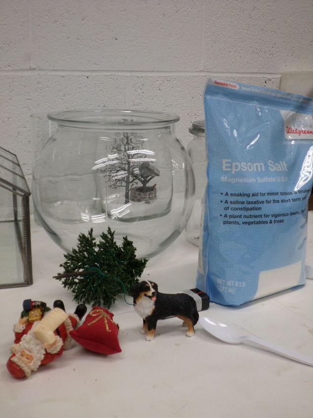 miniature christmas jar scene, christmas decorations, seasonal holiday decor