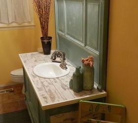 Door Repurposed Into Bathroom Vanity, Bathroom Ideas, Painted Furniture,  Repurposing Upcycling ...