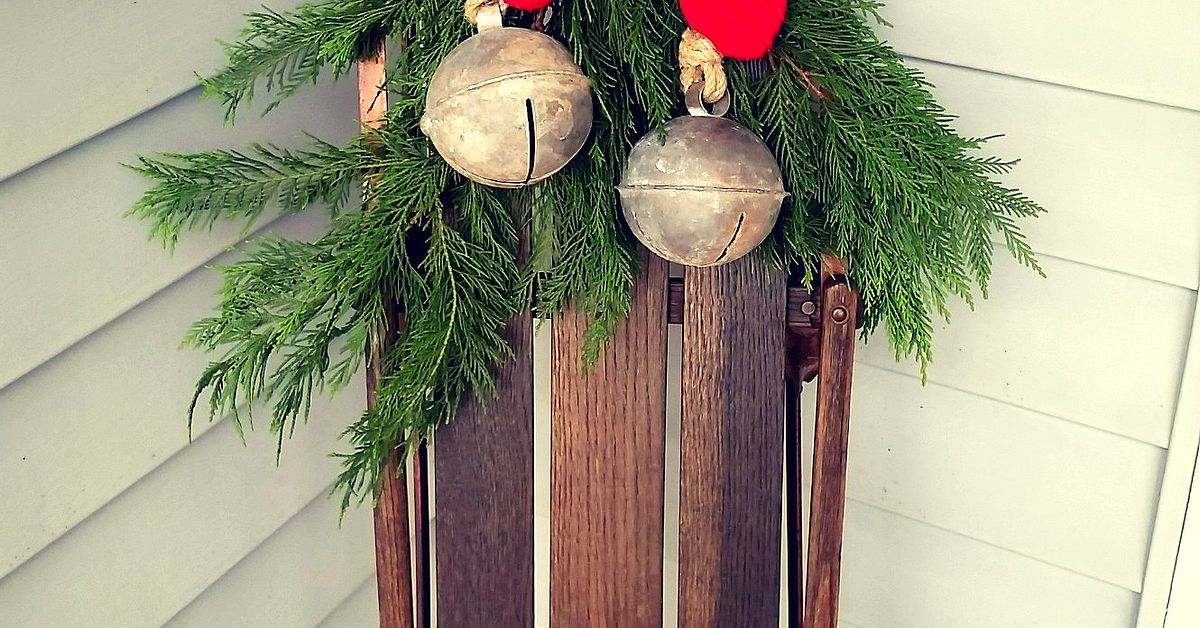 antique sled and sweater mittens winter porch decor hometalk christmas decorations archives social erflies - Vintage Sled Christmas Decoration