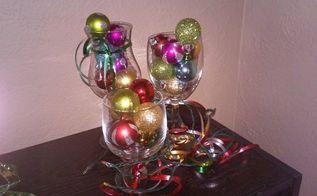 wine glass christmas decor, christmas decorations, seasonal holiday decor