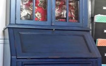 diy secretary makeover with napoleonic blue chalk paint glaze, chalk paint, decoupage, painted furniture