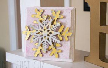 3d snowflake diy winter decor, chalk paint, christmas decorations, craft rooms, seasonal holiday decor