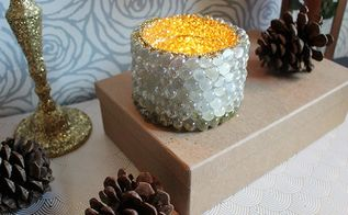 repurpose creamer bottle into glitter candle holder for holiday, christmas decorations, crafts, how to, repurposing upcycling, seasonal holiday decor