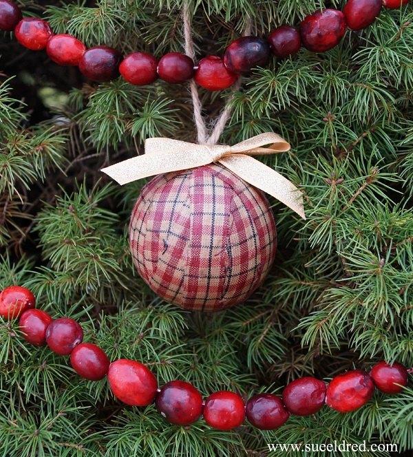 christmas ornaments decoupage homesupun rag ball, christmas decorations,  crafts, decoupage, diy, - Homespun Rag Ball Ornaments Hometalk