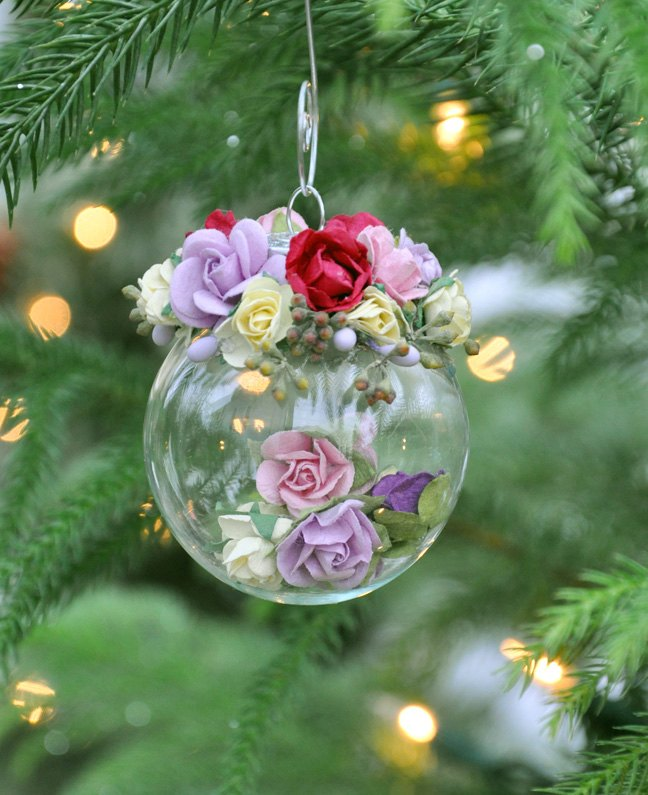 Christmas Ornaments Pretty Paper Rose Craft Decorations Crafts Seasonal Holiday Decor