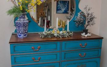 painted teal blue mirror furniture dresser, painted furniture