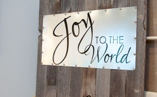 reclaimed wood and steel decorative sign, christmas decorations, seasonal holiday decor, woodworking projects