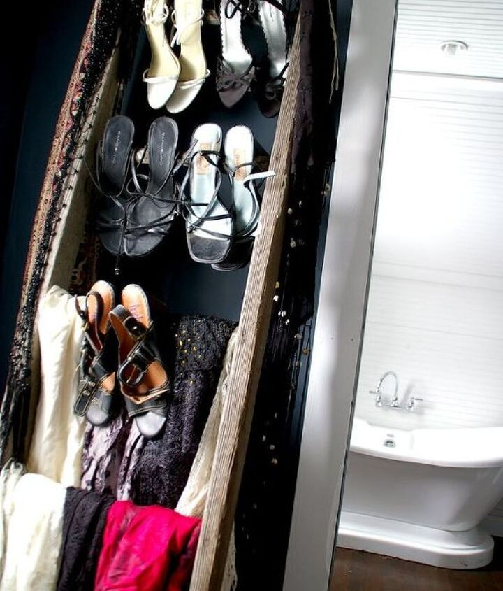 an old ladder gets retired to my closet as a ladder shoe rack, closet, organizing, repurposing upcycling, storage ideas