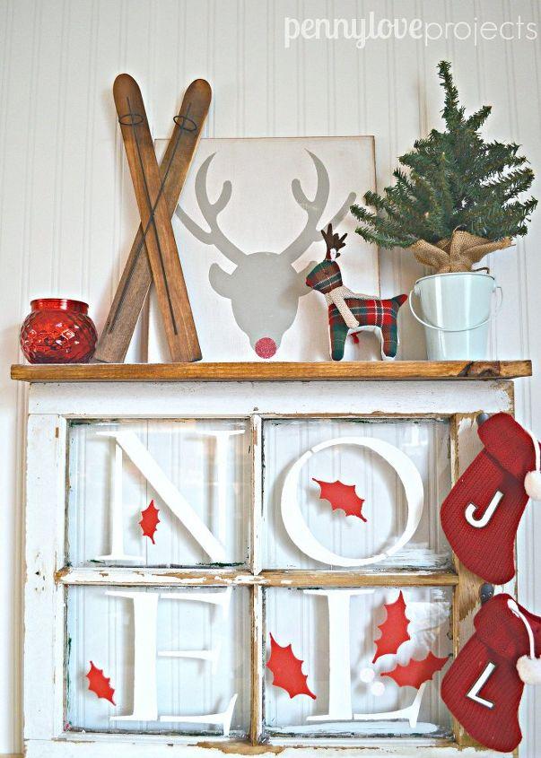 s 14 impossibly pretty christmas decorations using stencils, christmas decorations, seasonal holiday decor, Noel Window Shelf