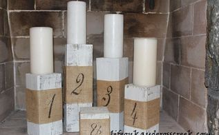 creating candlestick holders from a fence post, repurposing upcycling