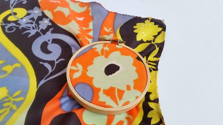 vintage scarf shatter proof suncatchers, crafts, repurposing upcycling