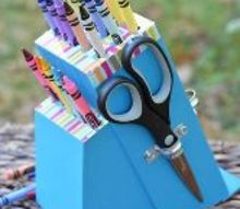 how to turn a knife block into crayon holder, crafts, repurposing upcycling