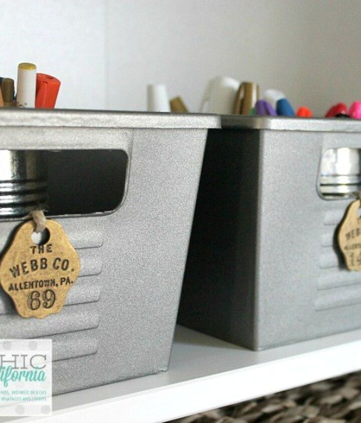 s here are 10 genius organizing ideas using dollar store bins baskets, organizing, storage ideas, Turn them into vintage locker bins
