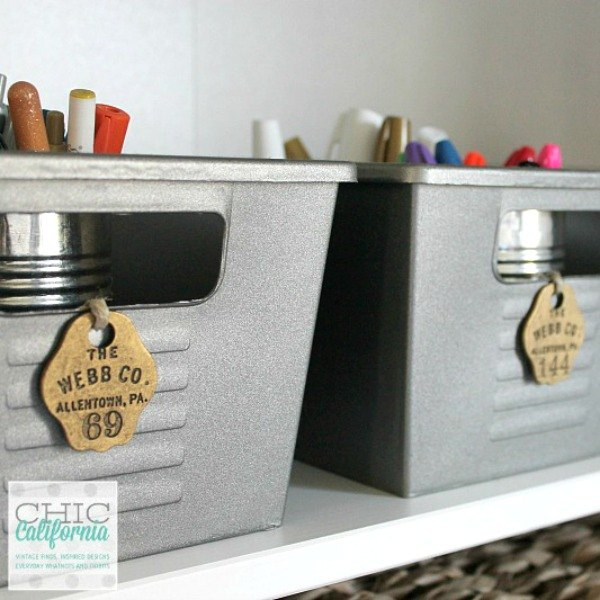 s here are 10 genius organizing ideas using dollar store bins baskets, organizing, storage ideas, Turn them into vintage locker bins