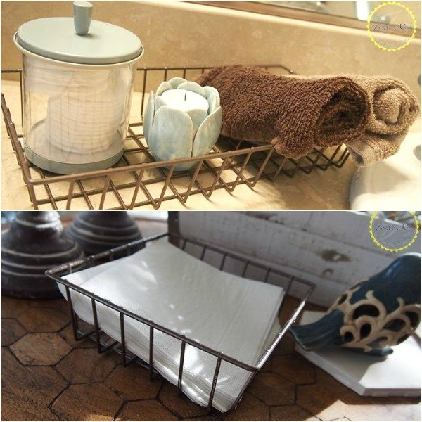 s here are 10 genius organizing ideas using dollar store bins baskets, organizing, storage ideas, Give them an industrial look for the bathroom