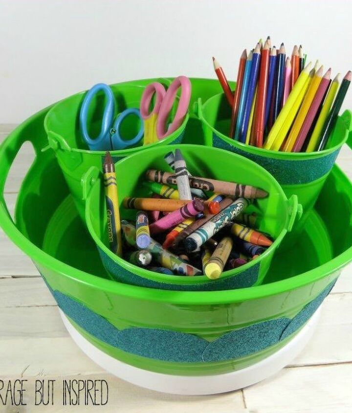 s here are 10 genius organizing ideas using dollar store bins baskets, organizing, storage ideas, Create a spinning office supply caddy