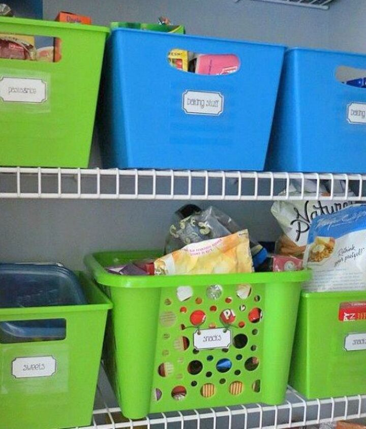 s here are 10 genius organizing ideas using dollar store bins baskets, organizing, storage ideas, Use a few to organize pantry shelves