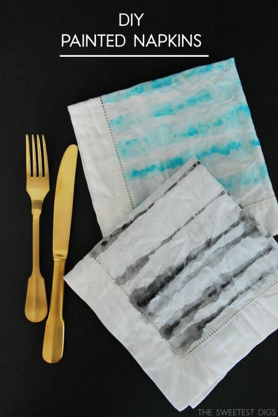 diy watercolor painted napkins, crafts