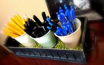 desktop organizer zinc bulb starter pots repurpose, organizing, repurposing upcycling, storage ideas