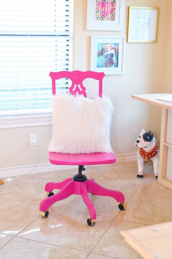 sassy hot pink office chair makeover, painted furniture