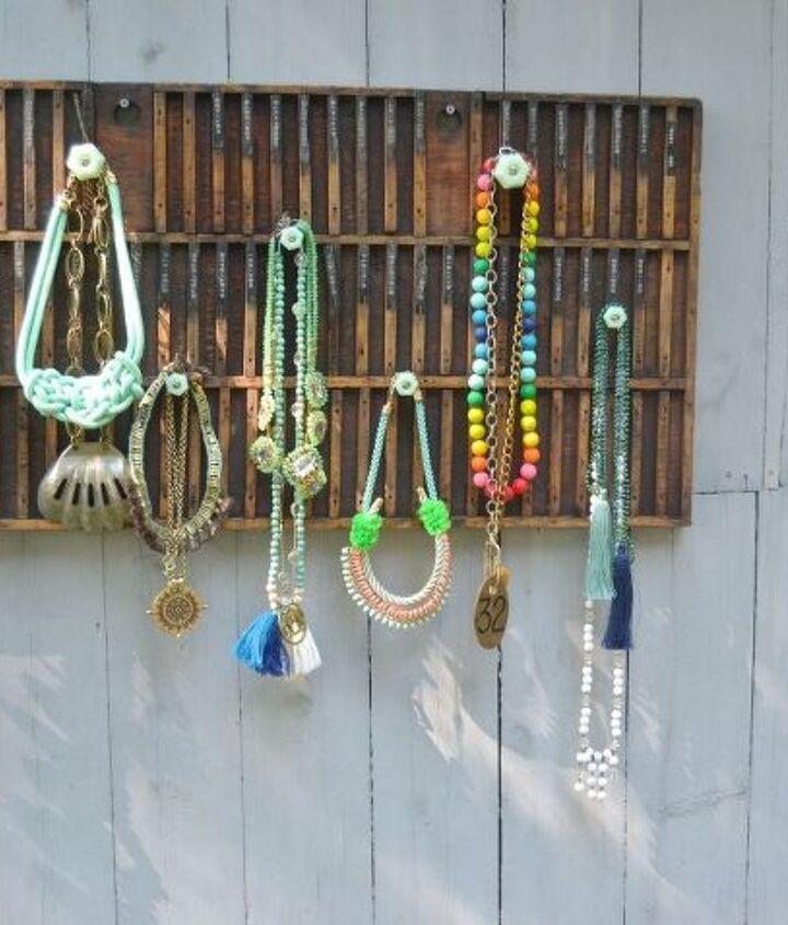 rustic necklace display, organizing, repurposing upcycling, storage ideas