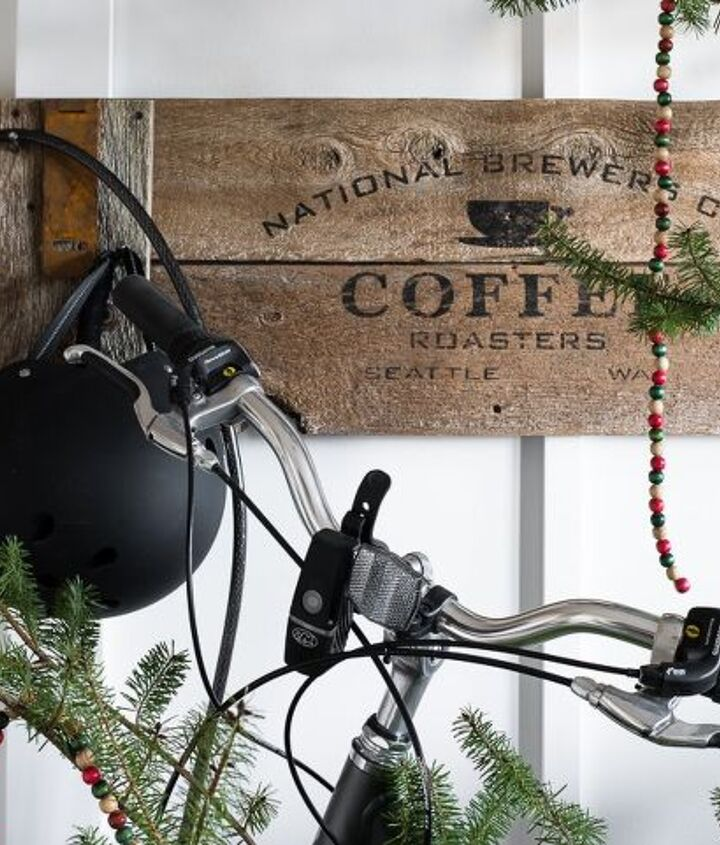 front entry redo bunch of bikes and old signs, crafts, foyer, home decor, organizing, repurposing upcycling, wall decor
