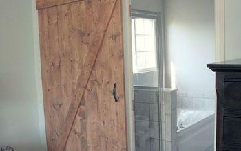 diy distressed sliding barn door, bathroom ideas, diy, doors, woodworking projects