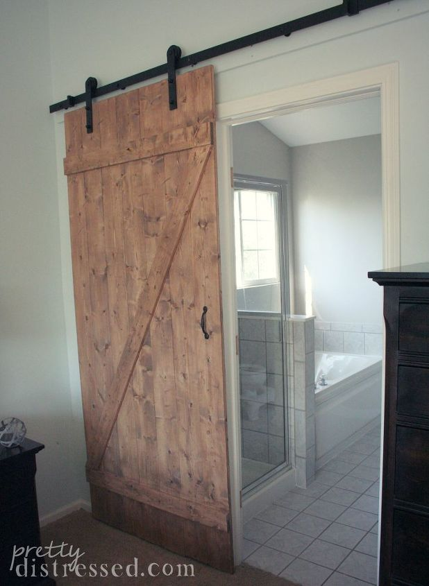 diy distressed sliding barn door, bathroom ideas, diy, doors, woodworking  projects