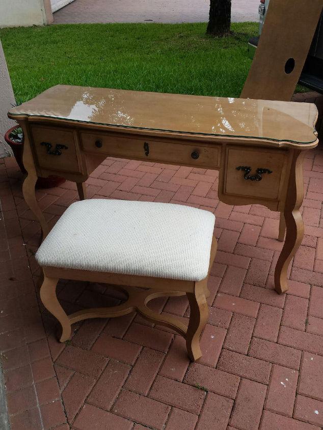 Queen Anne Desk Vanity Makeover Painted Furniture