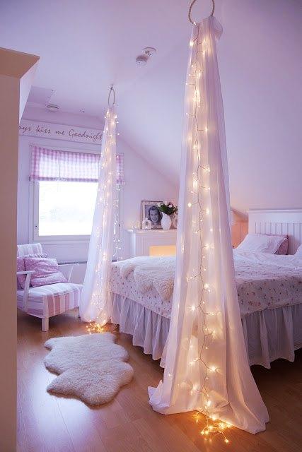 Twinkle Light Faux Canopy Bed