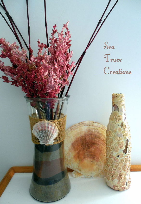 diy beach sand vases, crafts