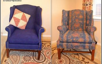 painted fabric upholstered wing back chair, painted furniture, reupholster
