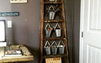 creative storage in dead space behind door ladder, home office, organizing, repurposing upcycling, storage ideas