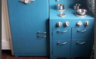 diy pottery barn kids inspired play kitchen, kitchen design, painted furniture, woodworking projects