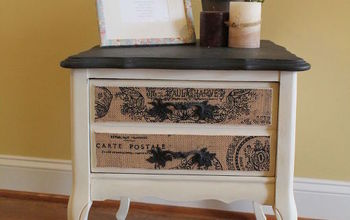 Chalk Paint Table With Burlap Drawers