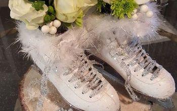 ice skate winter centerpiece, crafts, repurposing upcycling, seasonal holiday decor