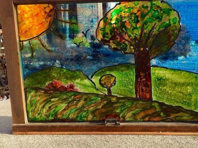 how to make windows look like stained glass with alcohol ink, crafts, how to, repurposing upcycling, wall decor, windows