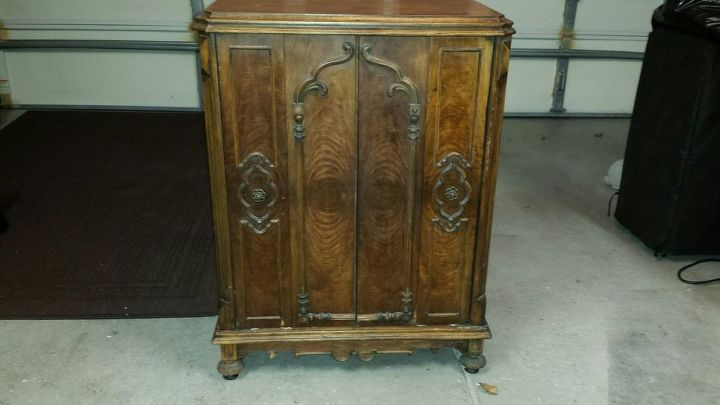 1930 s vintage radio cabinet redo painted, chalk paint, painted furniture - 1930's Vintage Radio Cabinet Redo Hometalk