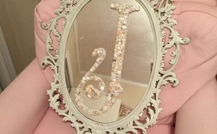 monogram a mirror with vintage buttons, crafts