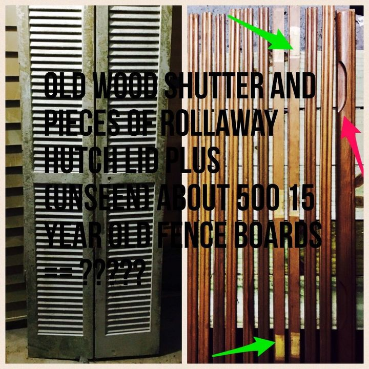 q need repurpose inspiration, repurpose building materials, repurposing upcycling, Left is wood shutter door Heavy and about 6 ft tall Right is the pieces of rollaway lid Will add photos without text as well