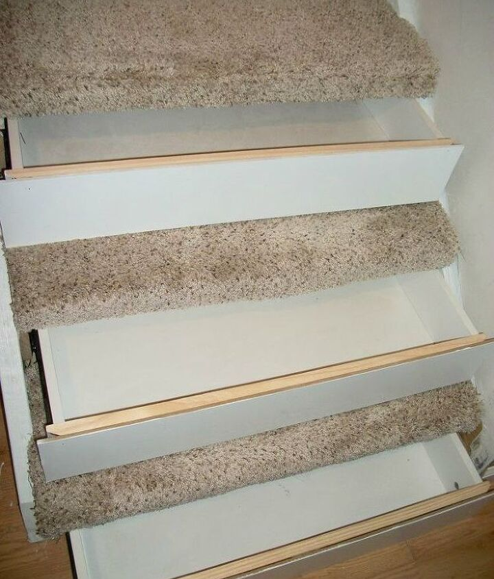 s 23 insanely clever ways to eliminate clutter, organizing, storage ideas, Put Drawers into Your Staircase