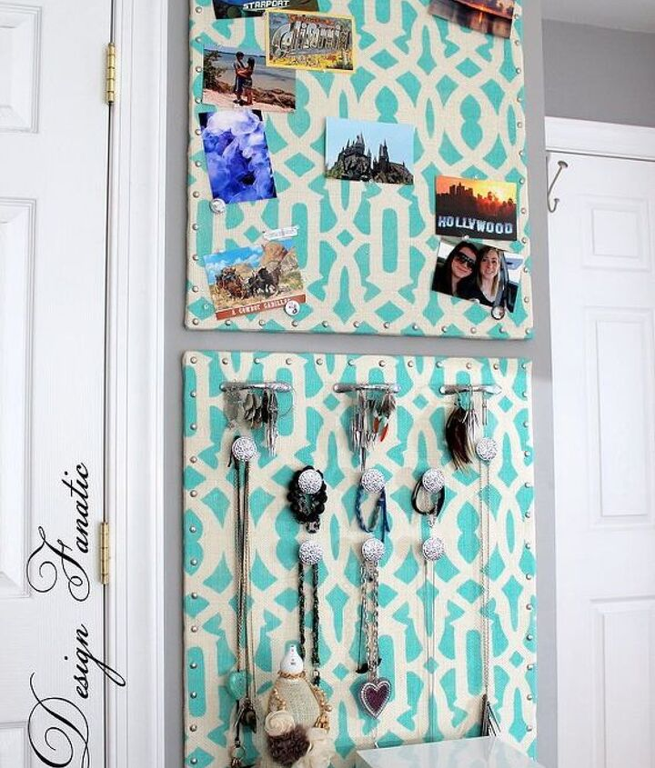 s 23 insanely clever ways to eliminate clutter, organizing, storage ideas, Display Jewelry on a Fabric Covered Corkboard
