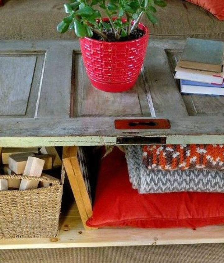 s 23 insanely clever ways to eliminate clutter, organizing, storage ideas, Make Living Room Stow Space from an Old Door