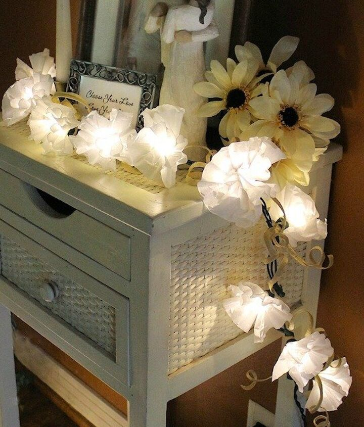 s 14 string light ideas that are cozier than your bed, bedroom ideas, lighting, Coffee Filter Twinkle Lights